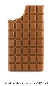 Milk chocolate bar with missing bite isolated over white