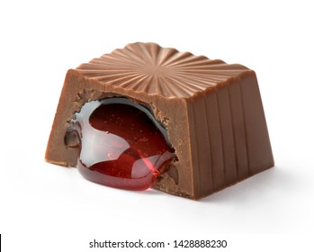 milk chocolate candy with cherry filling