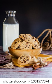 milk chocolate and cookies on the morning table for breakfast