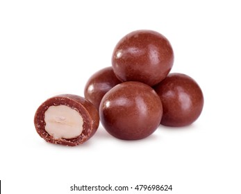 Milk Chocolate Covered Hazelnuts Isolated On White Background