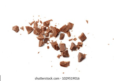 milk chocolate shavings isolated on white background top view