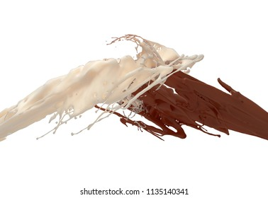 Milk And Chocolate Splashing Isolated On White Background. 3D Illustration.