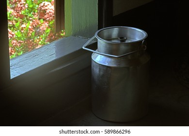 Milk churn in tipical kitchen of settlers.