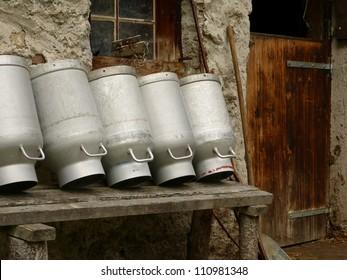 Milk churns at the hut