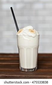 Milk cocktail with banana cream