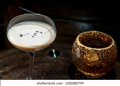 Milk cocktail on dark background