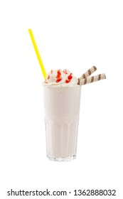 Milk cocktail with topping, strawberry, berry, cherry, wafer duct, yellow straw, isolated white background in glass and whipped cream, side view