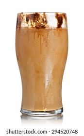 Milk coffee cocktail from frozen coffee cubes in highball glass. Iced milk coffee