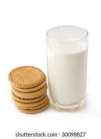 Milk and cookies isolated on white