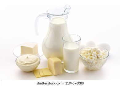 Milk, cottage cheese, sour cream, cheese, butter, eggs, still life from healthy dairy products. Dairy nutrition is good for children's health. Homemade milk and what can be made from milk.