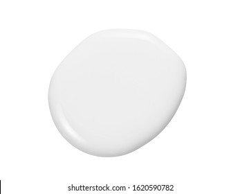 Milk, cream, white liquid cosmetic lotion drop puddle isolated on white background