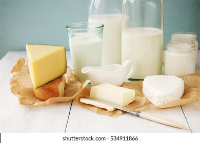 Milk and dairy products. Cheese, milk, cottage cheese, cheese, yogurt, cream and butter