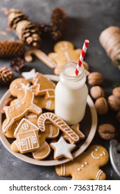Milk and gingerbread  cookies on a gray background.