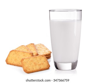 milk in the glass and Cracker on white background
