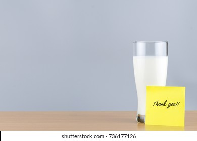 """Milk in a glass and """" Thank you """" on Note Paper"""
