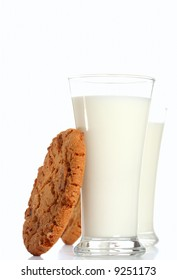 milk glass with toffee pecan cookie, and the same on background