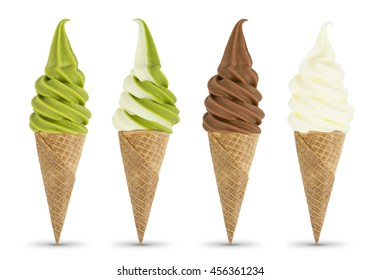 milk Green tea chocolate mix ice cream soft serve isolated on white background