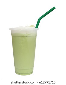 Milk Green tea smoothie in plastic cup with straw isolated on white background