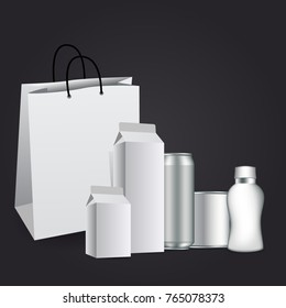 Milk or juice carton packaging package box white blank isolated.