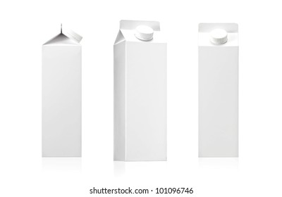 Milk or juice pack - Realistic photo image., package of Milk or juice isolated on white background