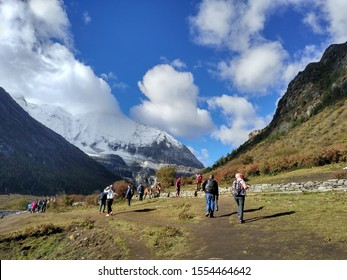 Milk Lake, Ya Ding / China - Oct 24 2017: Hiking from Lorong Pasture to Milk Lake in Ya Ding .There is 4600m height of the Milk Lake .The Tourist are busy to take photo and hike