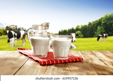 milk and landscape with green grass