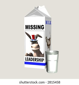 Milk - Missing Democrat Leadership. Democrat represented by a donkey on a milk carton. Political humor. Isolated on a solid background.