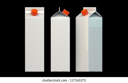 milk package isolated on black background