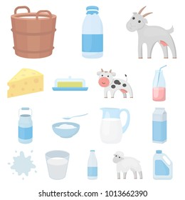 Milk product cartoon icons in set collection for design.Milk and food bitmap symbol stock web illustration.