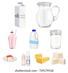 Milk product and sweet set icons in cartoon style. Big collection of milk product and sweet bitmap, raster symbol stock illustration