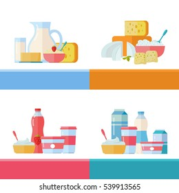 Milk production, best cheese, berry yogurt, sour milk conceptual banners set. Collection of traditional dairy products pictogram for farm, grocery store, cafe, diet and food delivery services