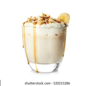 Milk shake with banana on white background