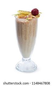 Milk shake cocktail isolated on white background