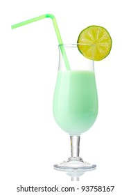 Milk shake with lime isolated on white