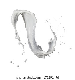 milk splash isolated on white