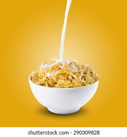 Milk Splash on Bowl of Cereal Corn Flakes