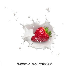 milk splash with strawberry from top view