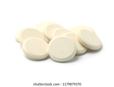 Milk tablet or Granulated milk isolated on white background.Clipping Path.