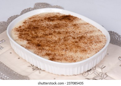 Milk tart in a white dish
