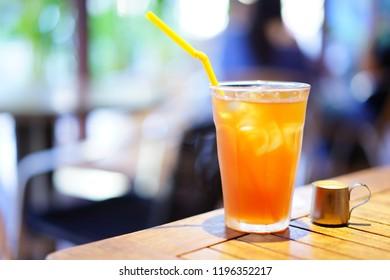 Milk tea in a cafe