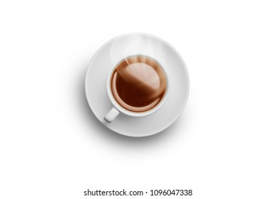 Milk tea coffeesplash from a cup isolated on white background
