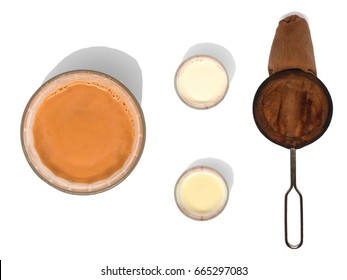 Milk tea with ingredients on white isolated background