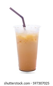 Milk tea in plastic grass isolate on white background with straw.