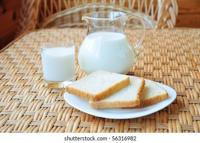 milk with three toasts on the table