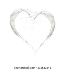 milk wave splashing heart shape, isolated on white