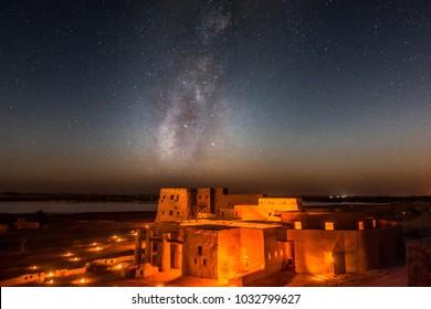 Milk Way over Jaafar Hotel in Siwa Egypt