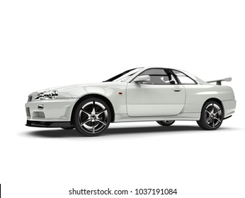 Milk white urban sports car - side view - 3D Illustration