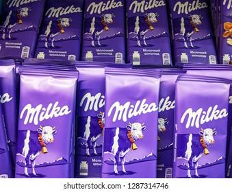 Milka milk chocolate in packaged in a supermarket in Kiev, Ukraine, 15 January 2019.