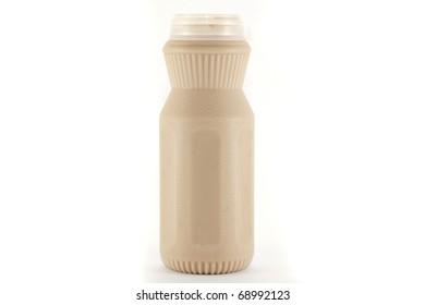 milk(coffee taste) in a plastic bottle on a white background