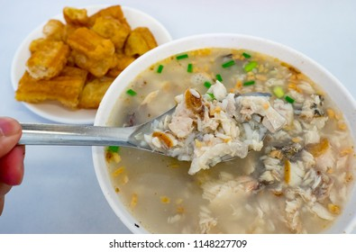 milkfish porridge with fried bread stick